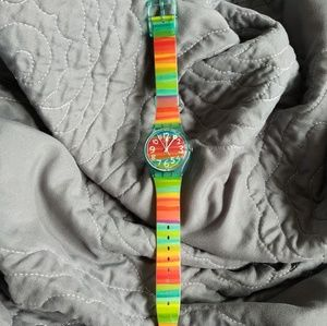 "Swatch Watch ""Color The Sky"" New Battery EUC"
